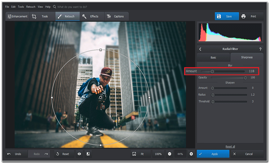 Use the slider to add the blur