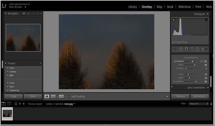 Save your image in Lightroom