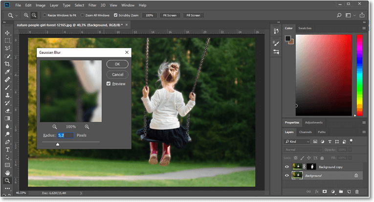 Blur the picture background in Photoshop using the Select and Mask feature