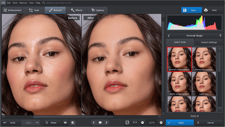 Use the Portrait Magic presets to smooth your skin