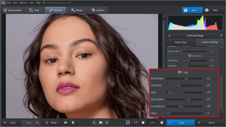 Put on some digital lipstick with PhotoWorks