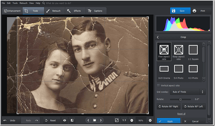 Crop out faded areas of your old photo