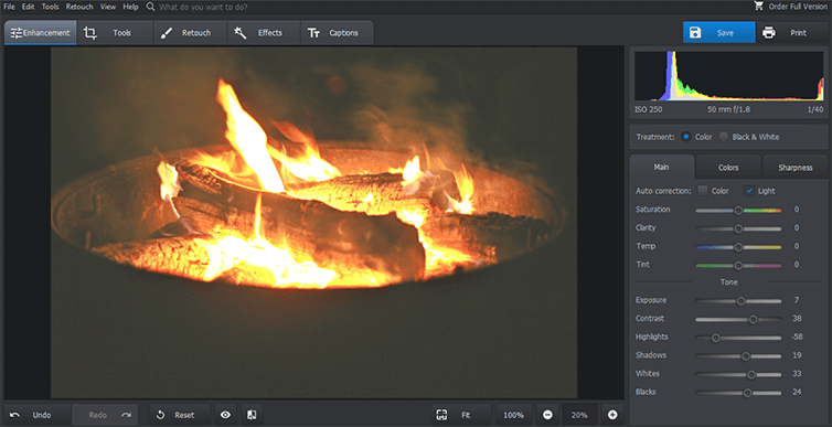 Enhance exposure of fire photography