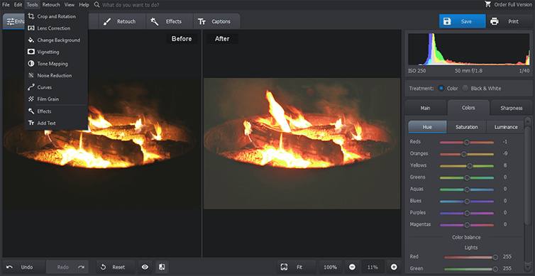 Reduce noise in fire photo