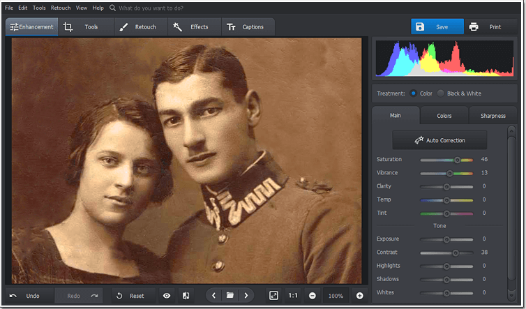 Boost the colors of your old photo