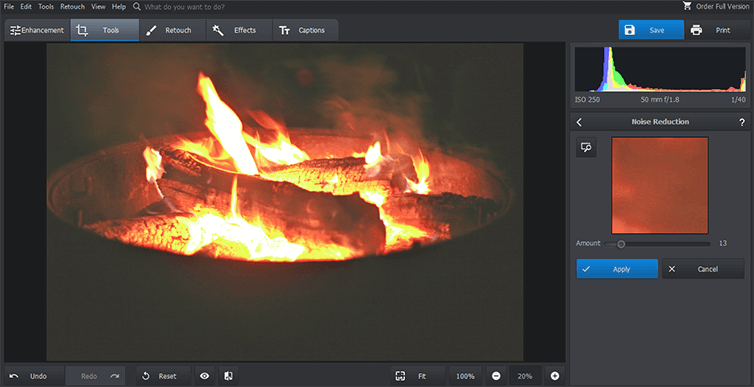 How to reduce noise in fire photo