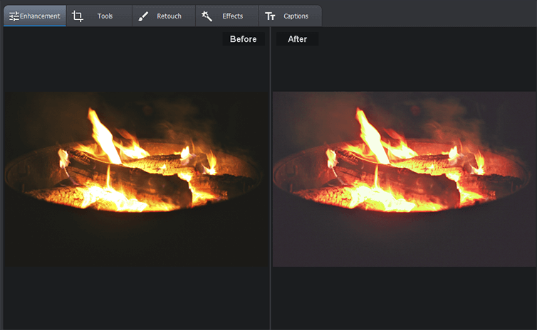 Compare the initial and result fire photos