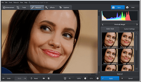 Use Portrait Magic to efficiently retouch portraits