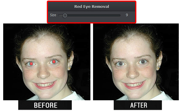 Get rid of red eyes in photo - the result