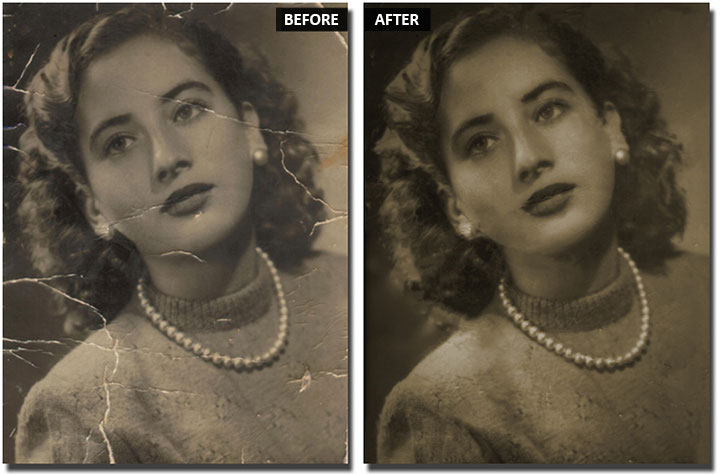 Restore an old photo in PhotoWorks