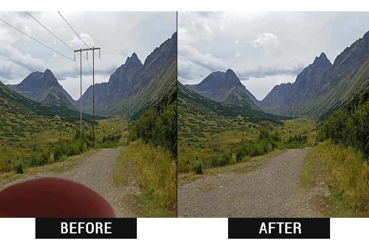 Result of removing objects from photos