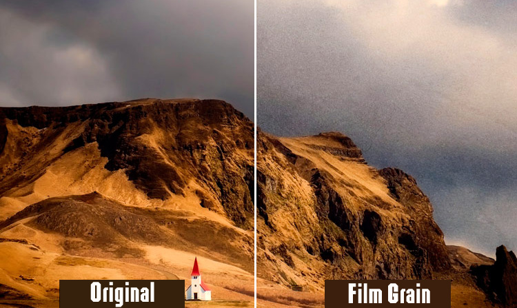 Photos with and without the film grain effect in comparison
